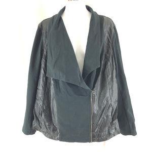 DKNY Womens Moto Jacket Faux Leather Asymmetric